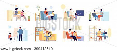 Parents Children Learning. Home Study, Mother Daughter Remote Education. Flat Adult Teacher And Stud