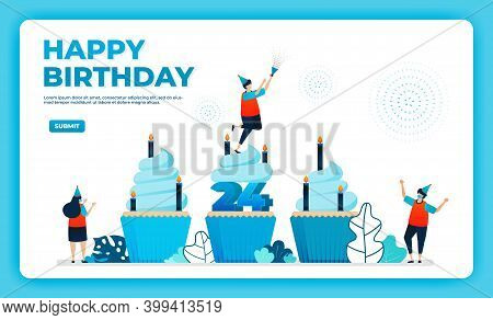 24th Birthday Vector Illustration With Health Protocol. Happy Quarantine Birthday Party. Birthday Si
