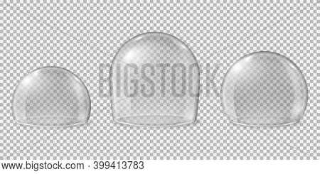 Glass Domes. Transparent Spheres, Clean Kitchen Glossy Display For Food. Isolated Realistic Crystal