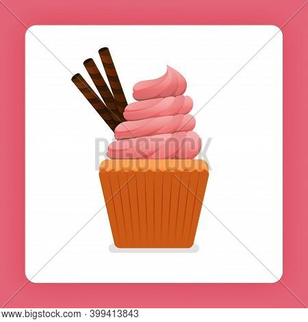 Illustration Of Cupcake With Strawberry Cream Topped With Chocolate Wafer Twisters. Strawberry Frost