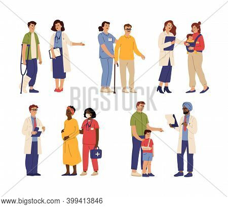 Doctor Visiting. Medical Help, Hospital Nurse Caring Patient. People Health Diagnosis, Consultation