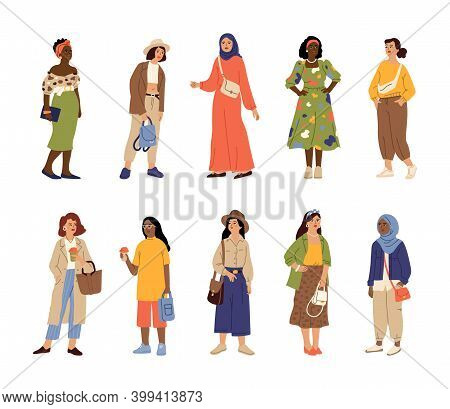 Different Stylish Women. Casual Style Woman, Multicultural Adults In Trendy Clothes. Isolated Fashio