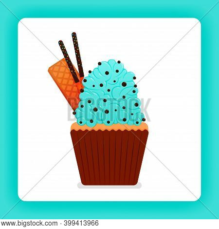 Illustration Of Tasty Cupcake With Mint Wimp Cream With Extra Topping Of Choco Chip, Wafer And Choco