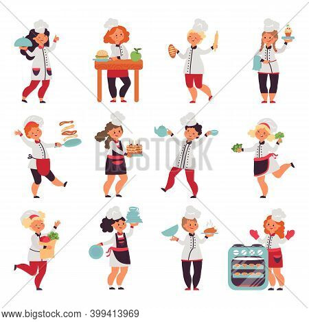 Kids Cooking. Cute Little Chef, Cartoon Funny Kitchen Children. Isolated Baker With Cooker. Child In
