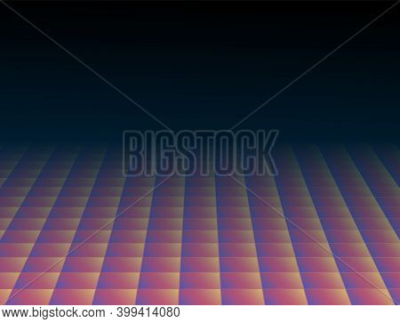 Abstract Tiles Floor. Colorful Disco Coating, Perspective Square Surface Vector Background. Geometri