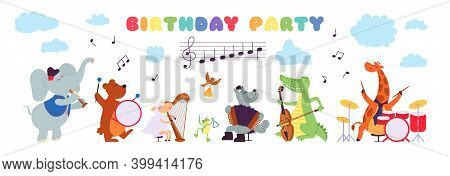 Birthday Musical Animals. Musician Playing Instrument, Celebration Cute Characters Baby Shower Banne