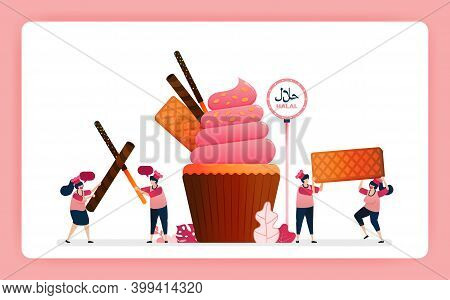 Illustration Of Cook Halal Sweet Strawberry Cupcakes. Muffin With Snack Waffle, Chocolate Stick And