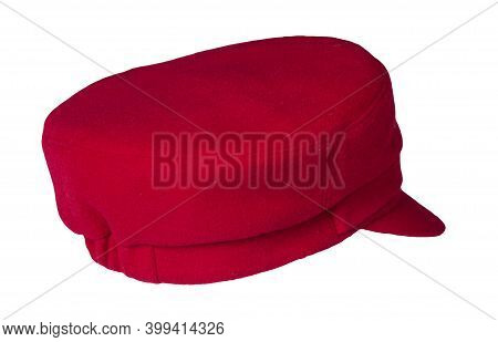 Fashion Red Hat With Visor Isolated On White Background.cap Female. Colored Hat .