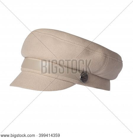 Fashion Beige Hat With Visor Isolated On White Background.cap Female. Colored Hat .