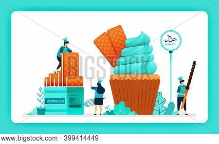Halal Food Menu Illustration Of Sweet Cupcake. Crispy Wafer And Waffle For Muffin Whip Cream Icing T