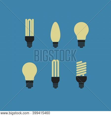 Vector Illustration Of Main Electric Lighting Types Light Bulb, Halogen Lamp, Led Lamp. Flat Style.