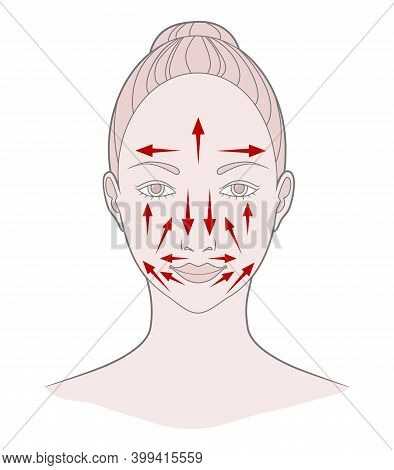 Chinese Massage With Gua Sha Stones. Lines Of Massage On The Face, Vector Illustration