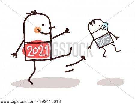Hand drawn Cartoon Big 2021 Man Kicking Out a Small 2020 with Mask