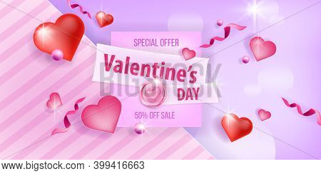 Happy Valentines Day Vector Love Background, Sale, Offer Or Promotion Card With Hearts, Confetti.hol