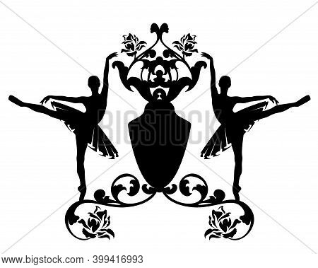 Twol Ballet Dancers Wearing Tutus With Heraldic Shield And Rose Flower Decor - Black And White Vecto