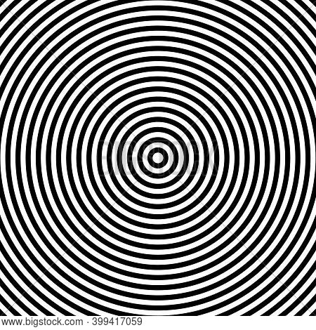 Perfectly Symmetrical Black Concentric Repeating Circles Vector Illustration