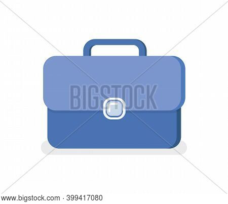 Blue Business Briefcase Isolated Portfolio Icon. Vector Office Worker Case, Leather Bag With Handle