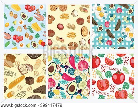 Collection Of Seamless Pattern With  Organic Food . Vector Hand Drawn Background With Healthy Food.