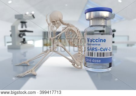 Human skeleton and covid 19 coronavirus vaccine. Conceptual image of dangerous side effects of vaccination or very long waiting time for vaccination. 3d illustration