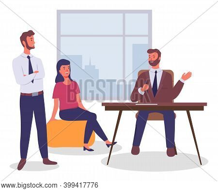 Office Workers, Colleagues Communicating Discussing Work, Executive Guys And Woman Sitting At Table