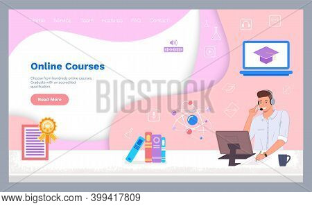 Landing Page Of Website. Online Courses. Education At Distance In Internet. Science Courses, Online