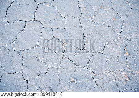 Cracks In The Clay Soil. The Texture Of The Soil