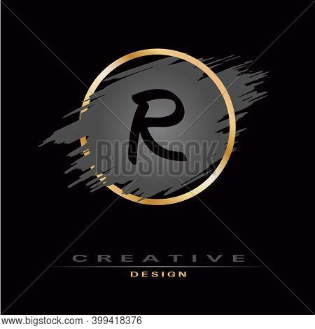 Elegant Letter R Logo With Brush Stroke And Gold Circle. Initial Letter Logo Design. Creative Templa