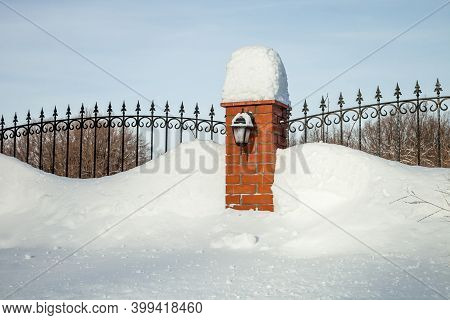 Fence Fence In The Snow. House Fencing In Winter