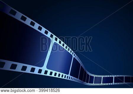 Realistic 3d Film Strip In Perspective. Modern Cinema Background. Festive Design Film Frame With Pla