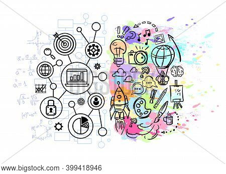 Abstract Left And Right Brain Hemispheres With Drawing Business Charts And Art Predisposition. Vecto