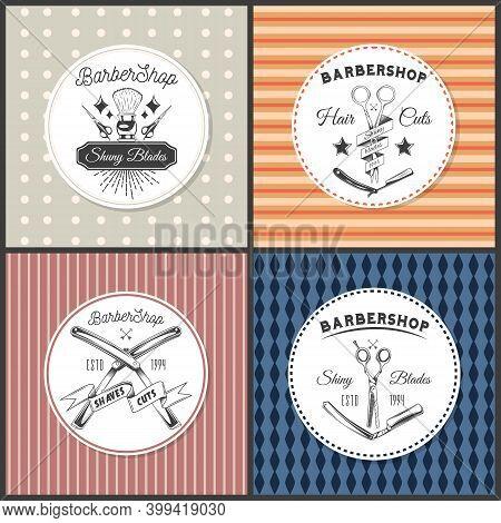 Set Of Colorful Sticker Label, Logo, Stamp, Print, Template. Barbershop Instruments, Equipment. Shav