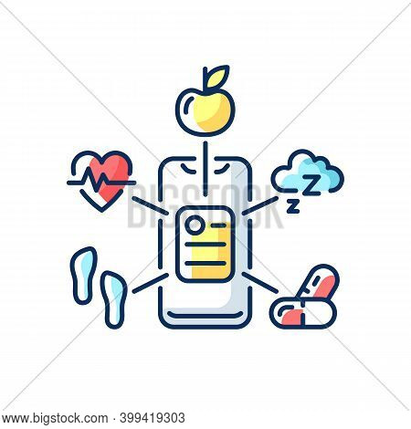 Health Data Collection Rgb Color Icon. Healthcare Application. Activity Trackers. Biometric Scanners