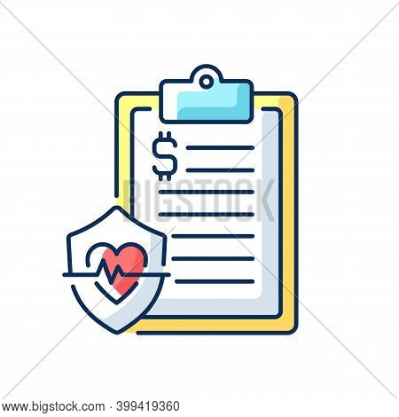 Insurance Data Rgb Color Icon. Health Insurance Coverage. Paying For Medical, Surgical Expenses, Pre