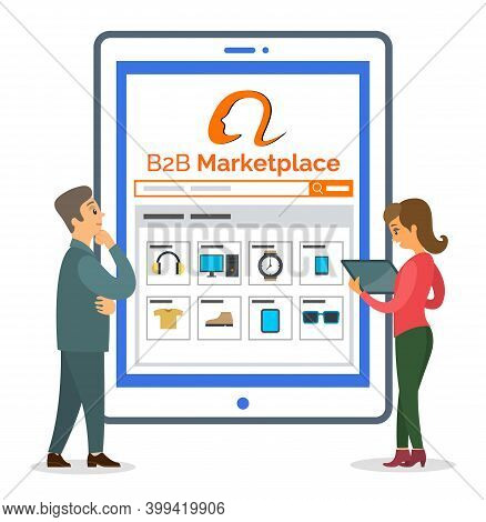 B2b Marketplace Website At Digital Tablet. Businessman And Woman Analysing Information. Thoughtful M