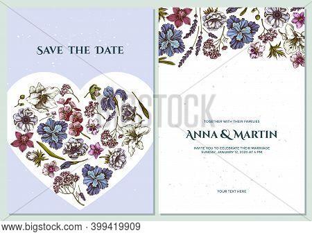Wedding Invitation Card With Colored Anemone, Lavender, Rosemary Everlasting, Phalaenopsis, Lily, Ir