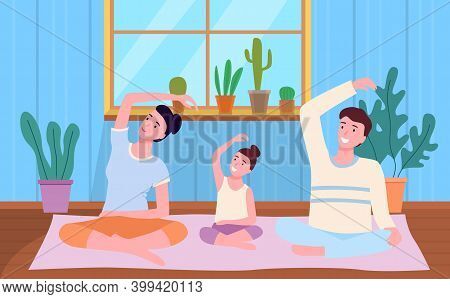 Family Spend Time Together At Home, People Making Yoga, Stretching Exercises Sitting At Carpet On Fl