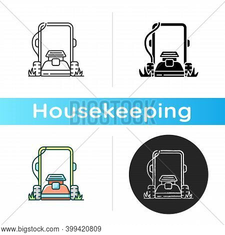 Lawn Mowing Icon. Linear Black And Rgb Color Styles. Suburban Housekeeping Chore. Professional Grass