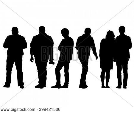 Man and women walking on street. Isolated silhouette on a white background