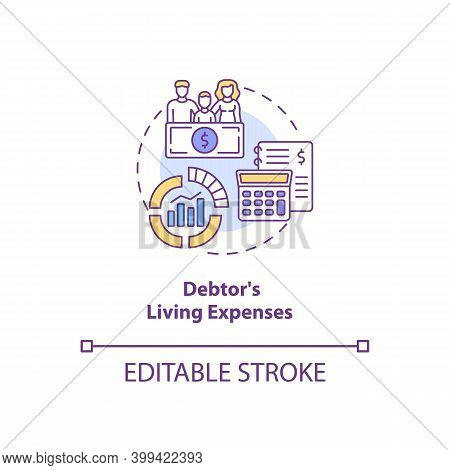 Debtor Living Expenses Concept Icon. Financial Crisis. Calculate Income And Expenditure. Bankruptcy