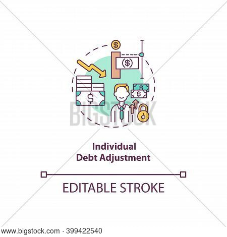 Individual Debt Adjustment Concept Icon. Terms Of Repaying Credit. Borrower Payment. Bankruptcy Alte