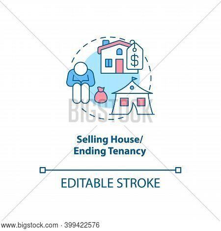 Selling House, Ending Tenancy Concept Icon. Financial Crisis. Debtor Difficulty. Eviction Notice. Ba