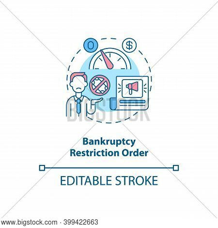 Bankruptcy Restriction Order Concept Icon. Financial Crisis. Legal Restriction. Debtor With Mortgage