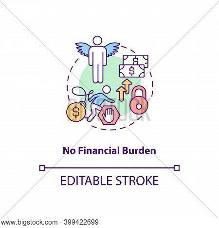 No Financial Burden Concept Icon. Debt Free. No Mortgage, Credit. Avoid Difficulty With Economy. Ban