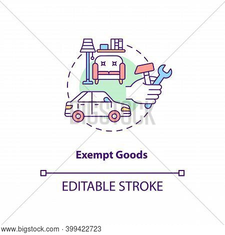 Exempt Goods Concept Icon. Duty Free Supply. No Vat Charge For Product. Low Cost. Save Money. Bankru