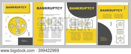 Bankruptcy Brochure Template. Insolvent Business. Financial Distress. Flyer, Booklet, Leaflet Print,