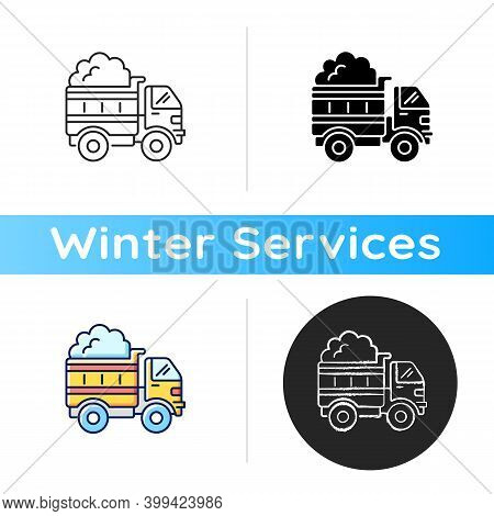 Snow Hauling Icon. Removing Snow After Snowfall To Make Travel Easier And Safer. Reducing Ice On You