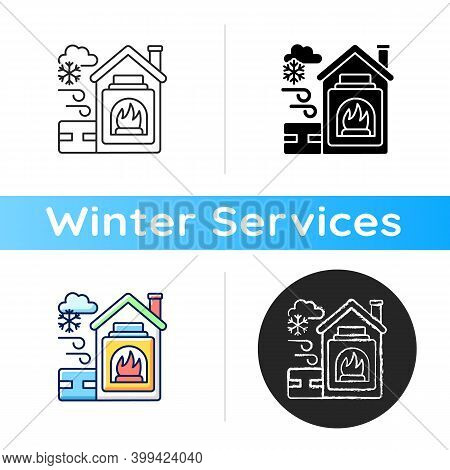 Warming Center Icon. Short Term Emergency Shelter That Operates When Temperatures Becomig Low. Help