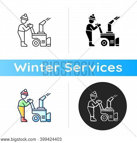 Snow Sweeping Icon. Removing Huge Amounts Of Snow After Stormy Snowfall. Cleaning Streets. Popular W