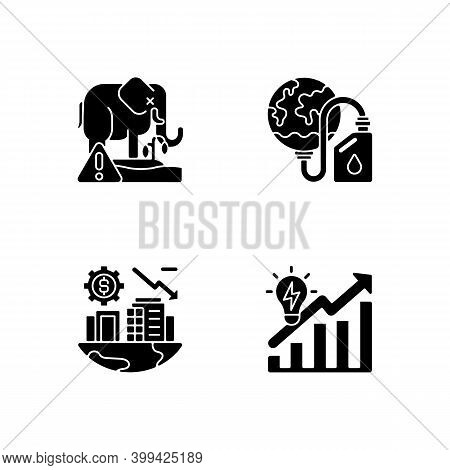 Global Warming Black Glyph Icons Set On White Space. Biological Resources Depletion. Biosphere Extin