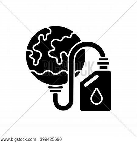 Biological Resources Depletion Black Glyph Icon. Consumption Of Resources Faster Than Can Be Repleni